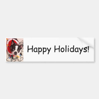 Boston Terrier Dog in Lights Bumper Sticker