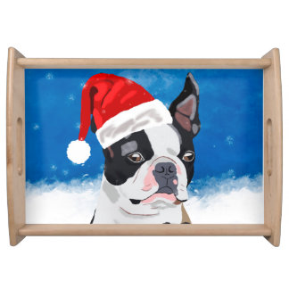 Boston Terrier Dog in Snow Christmas Happy Holiday Serving Tray