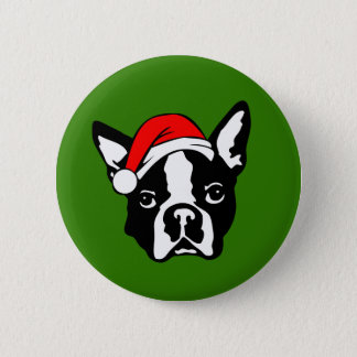 Boston Terrier Dog with Christmas Santa Hat 2 Inch Round Button