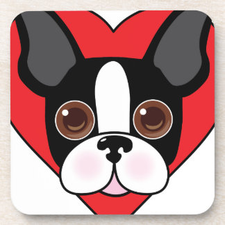 Boston Terrier Face Beverage Coaster