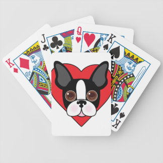 Boston Terrier Face Bicycle Playing Cards