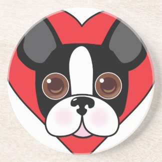 Boston Terrier Face Drink Coasters