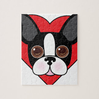 Boston Terrier Face Jigsaw Puzzle