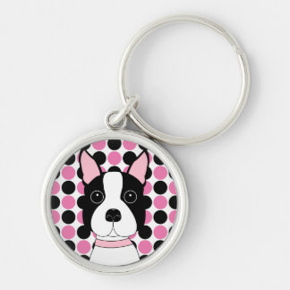 Boston Terrier Face Keychain