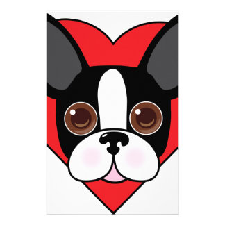 Boston Terrier Face Personalized Stationery