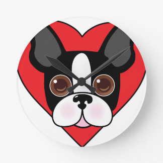 Boston Terrier Face Round Clock
