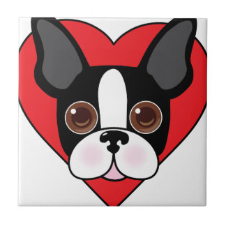 Boston Terrier Face Tile