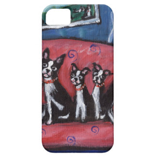 Boston Terrier family sofa iPhone 5 Covers