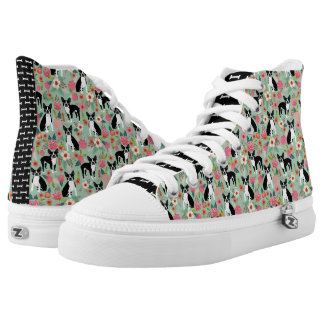 Boston Terrier Floral Shoes - dog flowers