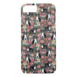 Boston Terrier Florals - dogs and flowers Case-Mate iPhone Case