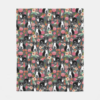Boston Terrier Florals - dogs and flowers Fleece Blanket