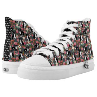 Boston Terrier Florals - dogs and flowers High Tops