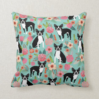 Boston Terrier Girly Vintage Flowers Print - cute Throw Pillow