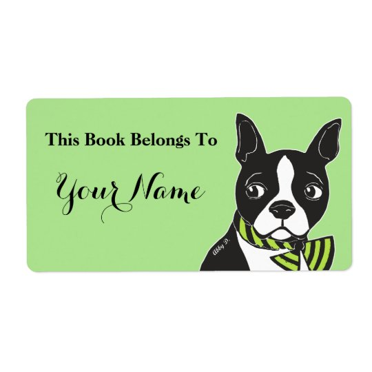 Boston Terrier Green Custom Bookplate Labels