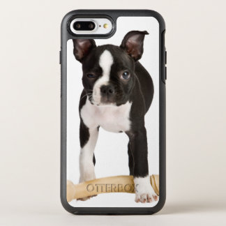 Boston terrier guarding twisty bone OtterBox symmetry iPhone 7 plus case
