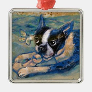 Boston Terrier happiness tribute Metal Ornament