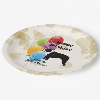 Boston Terrier Happy Birthday Decor 9 Inch Paper Plate
