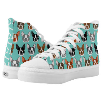 Boston Terrier Hi Tops - Cute boston terrier shoes