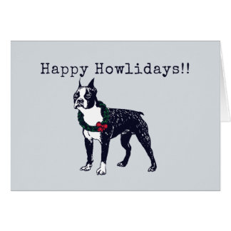 Boston Terrier Holiday Card