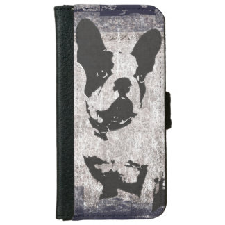 Boston Terrier in Black and White iPhone 6 Wallet Case
