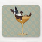 Boston Terrier in Cocktail Glass Mouse Pad
