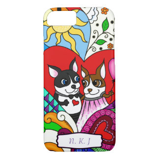 Boston Terrier in Doodle Pattern Personalizable iPhone 7 Case
