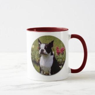 Boston Terrier in Garden Mug