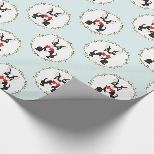 Boston Terrier in Red Bow Tie Christmas