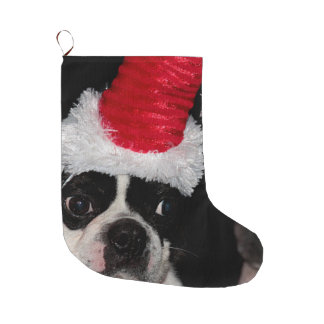 Boston terrier large christmas stocking