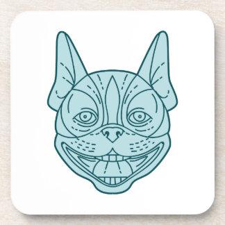 Boston Terrier Laughing Circle Mono Line Coaster