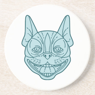 Boston Terrier Laughing Circle Mono Line Drink Coasters
