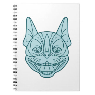 Boston Terrier Laughing Circle Mono Line Notebook