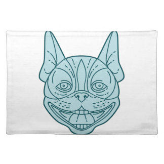 Boston Terrier Laughing Circle Mono Line Placemat