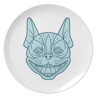 Boston Terrier Laughing Circle Mono Line Plate