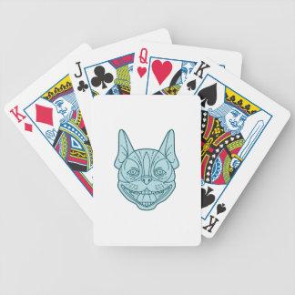 Boston Terrier Laughing Circle Mono Line Poker Deck