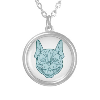 Boston Terrier Laughing Circle Mono Line Silver Plated Necklace