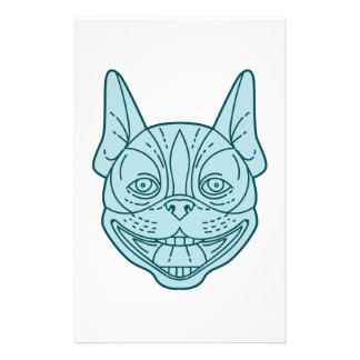 Boston Terrier Laughing Circle Mono Line Stationery