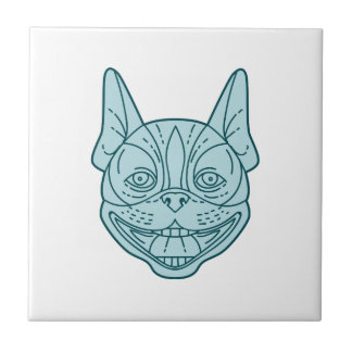 Boston Terrier Laughing Circle Mono Line Tile