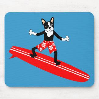 Boston Terrier Longboard Surfer Mouse Pad