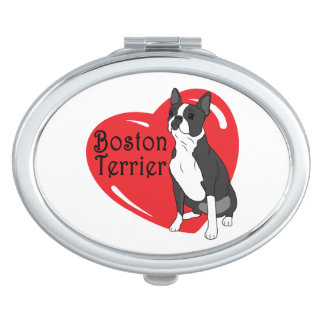 Boston Terrier Love Heart Vanity Mirror