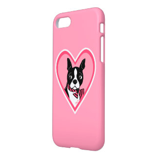 Boston Terrier Love Pink iPhone 7 Case
