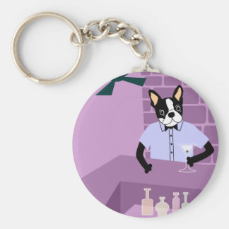 Boston Terrier Martini Bar Keychain