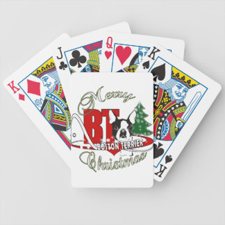 BOSTON TERRIER MERRY CHRISTMAS BICYCLE PLAYING CARDS