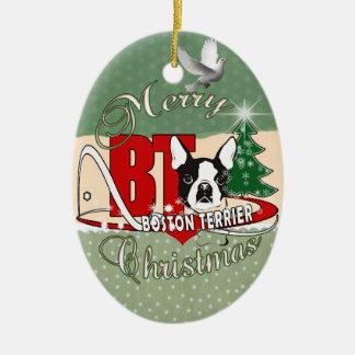 BOSTON TERRIER MERRY CHRISTMAS CERAMIC ORNAMENT