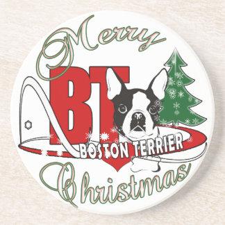 BOSTON TERRIER MERRY CHRISTMAS COASTER
