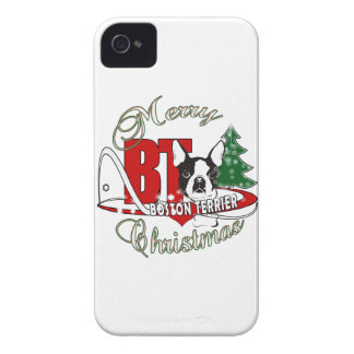 BOSTON TERRIER MERRY CHRISTMAS iPhone 4 CASE