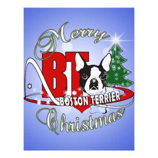 BOSTON TERRIER MERRY CHRISTMAS LETTERHEAD