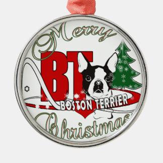 BOSTON TERRIER MERRY CHRISTMAS METAL ORNAMENT