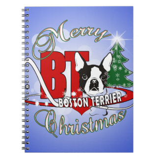 BOSTON TERRIER MERRY CHRISTMAS NOTEBOOK
