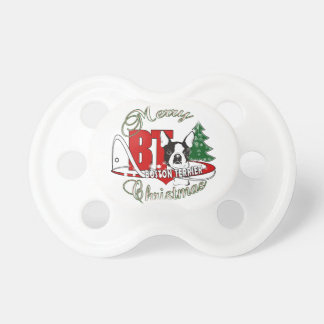 BOSTON TERRIER MERRY CHRISTMAS PACIFIER